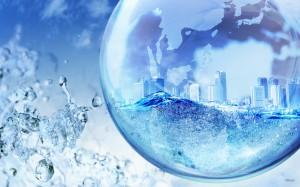 Sfondi desktop HD fantasy - cittaà nella bolla d'acqua
