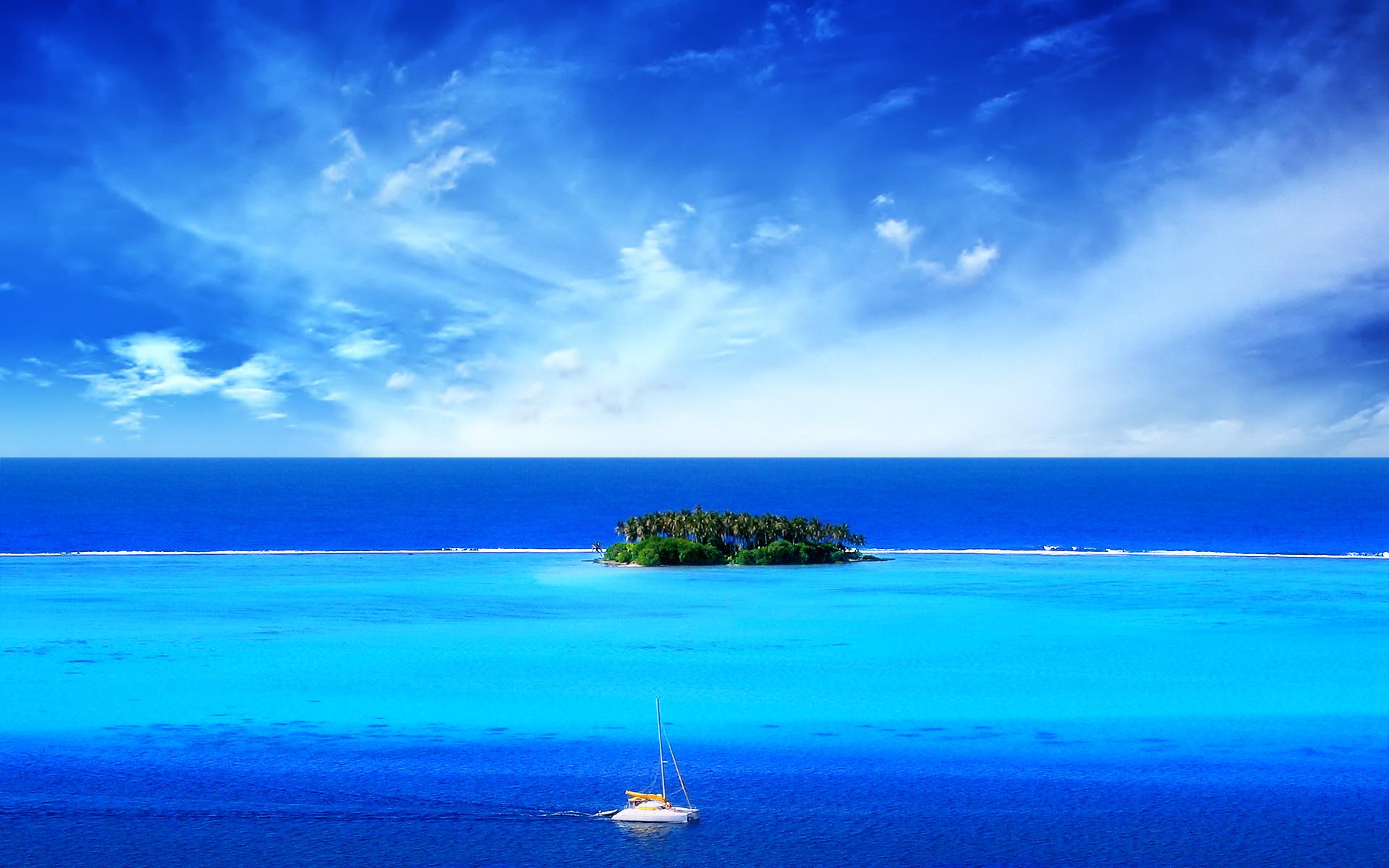Sfondi desktop paesaggi HD - isola nell'oceano