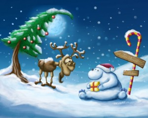 Sfondi desktop Natale per pc - neve e renna