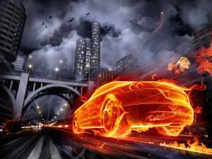 Sfondi HD in 3D per desktop - auto infuocata