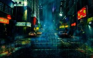 Sfondi desktop HD città sotto la pioggia