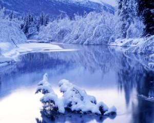 Sfondi HD paesaggio lago e neve