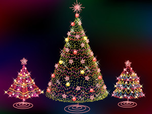 Sfondo Natale alberi colorati