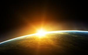 Sfondo sole dalla stazione spaziale wallpaper