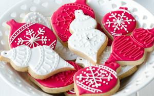 Sfondo cake design natale biscotti colorati