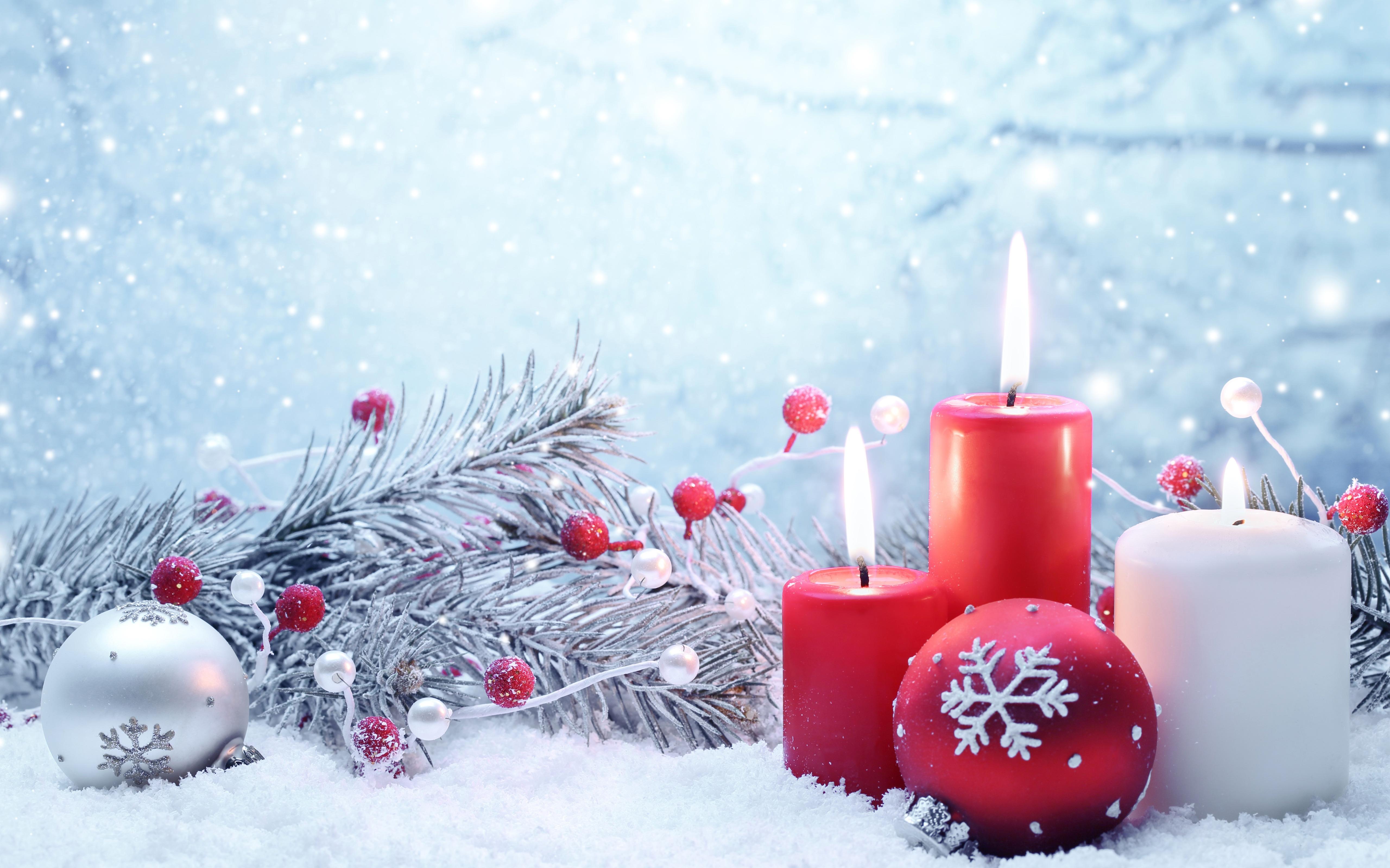 Sfondo Candele Di Natale E Neve Inverno Sfondi Hd Gratis