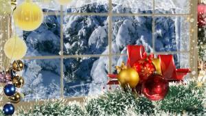 Sfondo natale decori inverno e neve dalla finestra