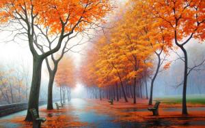 Sfondo parco in autunno