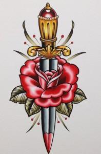 Tattoo old school pugnale