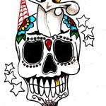 Tattoo old school pugnale con teschio
