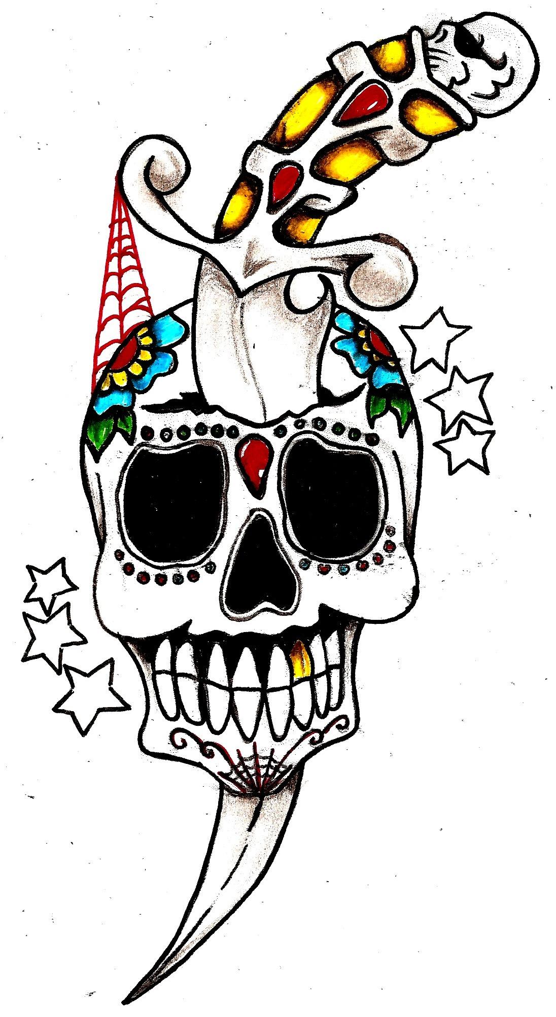 Tattoo Old School Pugnale Con Teschio Sfondi Hd Gratis