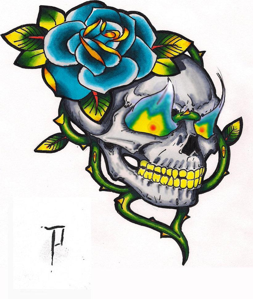 Tattoo Old School Teschio Con Fuoco Sfondi Hd Gratis