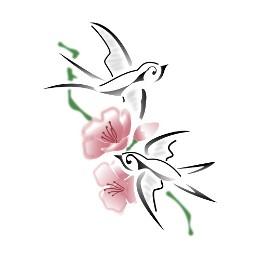 Tattoo fiori di pesco e rondini