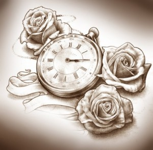 Tattoo realisticoorologio e rose