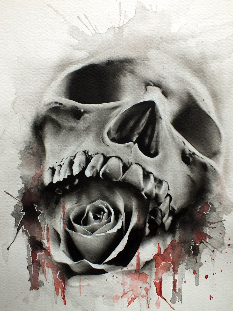 Tattoo Teschio Realistico Con Rosa In Bocca Sfondi Hd Gratis
