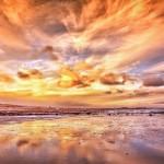 Sfondo desktop tramonto riflesso sul mare